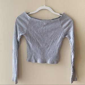 Brandy Melville Off-The-Shoulder Gray Ribbed Shirt